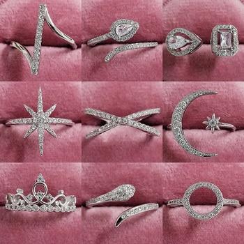 2021 New Arrival Snake Star X 925 Sterling Silver Trendy Fashion Ring Finger For Women Girl Promise Valentine's Day Gift R5502 1