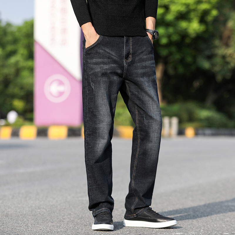 2019 Men Loose Straight Business Men's Trousers Jeans Men's Autumn And Winter New Style Middle-aged Large Size Jeans Casual