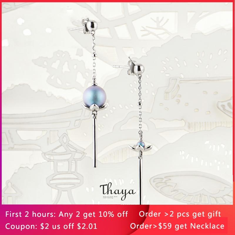 Thaya Chinese Style Asymmetry Blue Lotus Jewelry 925 Silver Earrings Original Design For Women Special Fine Jewelry