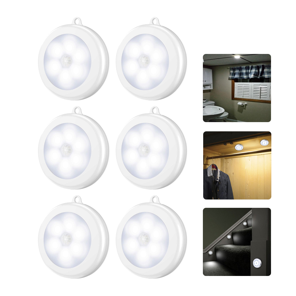 6/3 LEDs PIR Motion Sensor Light Cupboard Wardrobe Bedroom Night Lamp LED Under Cabinet Night Light For Closet Stairs Kitchen