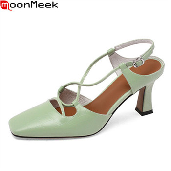 MoonMeek 2020 New Brand fashion women pumps genuine leather high heels ladies shoes summer shallow square toe party shoes