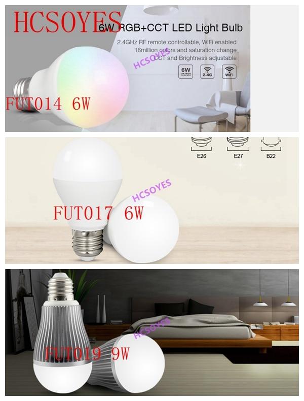 milight FUT014 6W/FUT017 6W/FUT019 9W LED bulb Spotlight RGB+CCT/ Dual White 2.4Ghz Wireless Remote Android/iOs APP smart bulb