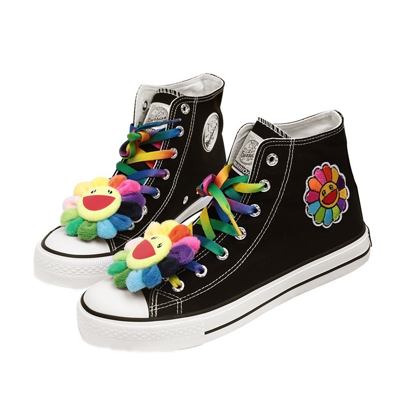 US4-11 Womens Round Toe Sunflowers Rainbow Colors Lace Up Embroidery Sneakers High Top Casual Shoes Plus Size F86