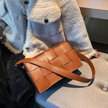 Fashion Leather Woven Women Shoulder Bags Designer Handbags Luxury Pu Crossbody Messenger Bag Lady Big Tote Square Flap Purses