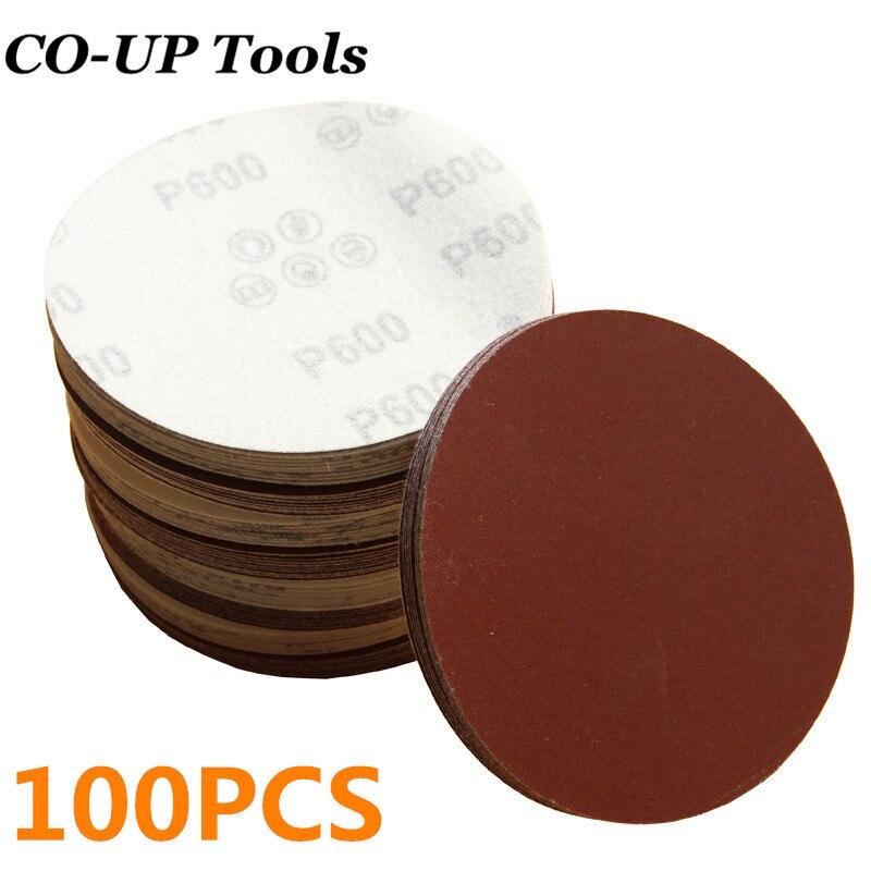"""4/"""" 100mm White Sandpaper 60-1000 Grit Hook Loop Sand Paper Sanding Disc Pad Wall"""