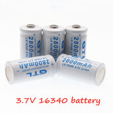 New 3.7V 2800mAh Lithium Li-ion 16340 Battery CR123A Rechargeable Batteries 3.7V CR123 for Laser Pen LED Flashlight Cell(China)
