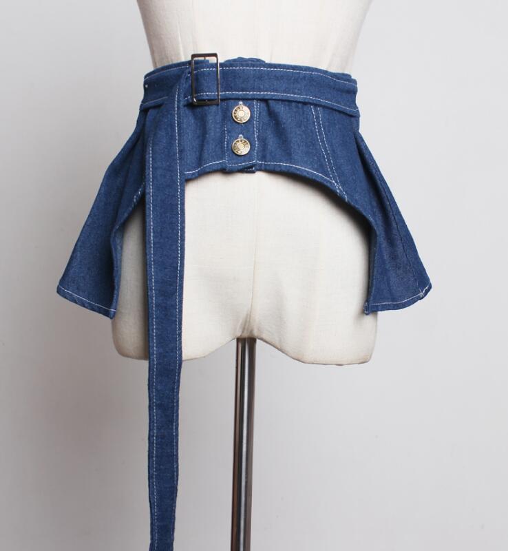 Women's Runway Fashion Brief Denim Cummerbunds Female Dress Coat Corsets Waistband Belts Decoration Wide Belt R1785