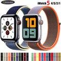 Strap Für Apple Uhr band 38mm 42mm iWatch 5 band 44mm 40mm Nylon armband Sport schleife armband Apple uhr 5 4 3 2 38 42 44mm-in Uhrenbänder aus Uhren bei