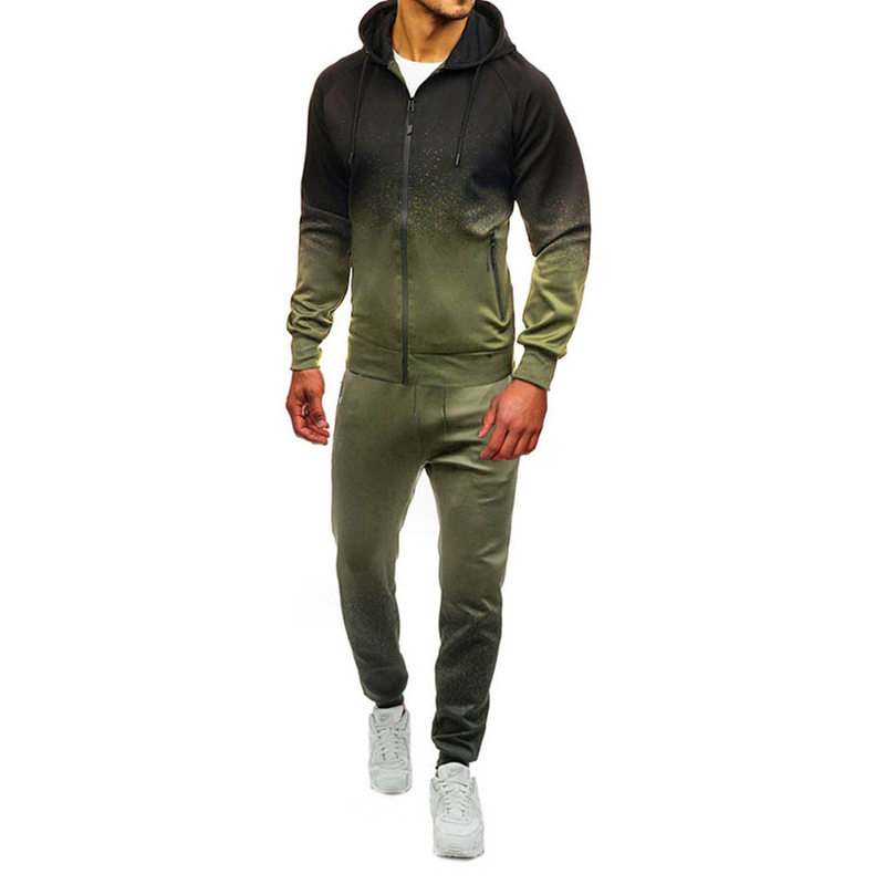 Hooded Running Gradient Striped Outdoor Sports Zipper Jacket + Fitness Trousers Men's Gym Jogging Suit