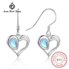 Women Heart Drop Earrings 925 Sterling Silver Cute Moonstone Dangle Earrings Korean Engagement Statement Earrings Fine Jewelry недорого