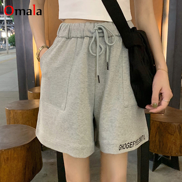 fashion 100% cotton Shorts Women Loose All-match Korean gray black Leisure Female Simple letter embroidery elastic jogger shorts 1