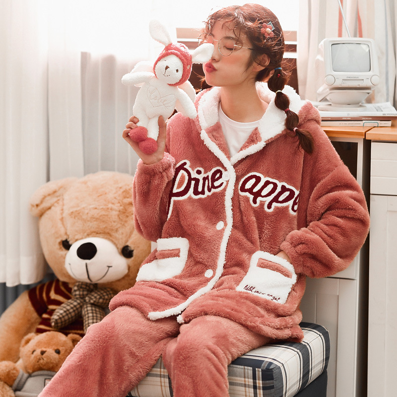 The New Korean Version Of Plush Pajamas For Women's Home Wear Winter Flannel Warm Spring And Autumn Suit