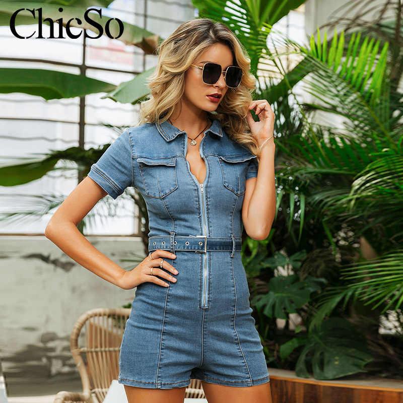 MissyChilli Denim cinturón Mono corto las mujeres elegante bodycon jeans mono otoño sexy streetwear club de noche mameluco