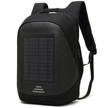 15.6' Laptop Solar Backpack Large iPad Bag USB Charging Business Backpacks Traveling Daypack anti theft backpack Male Mochila 3