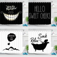 Modern Style White Black Shower Curtain Funny Quotes Fabric Mildew Resistant Waterproof Creativity Shower Curtain for Bathroom hippo shadow water resistant fabric shower curtain