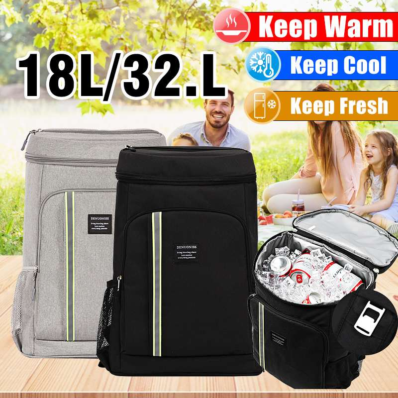 18L/32.8LOxford Insulated Cooling Backpack Outdoor Lunch Picnic Camping Food Fruits Fresh Cooler Shoulder Bags image