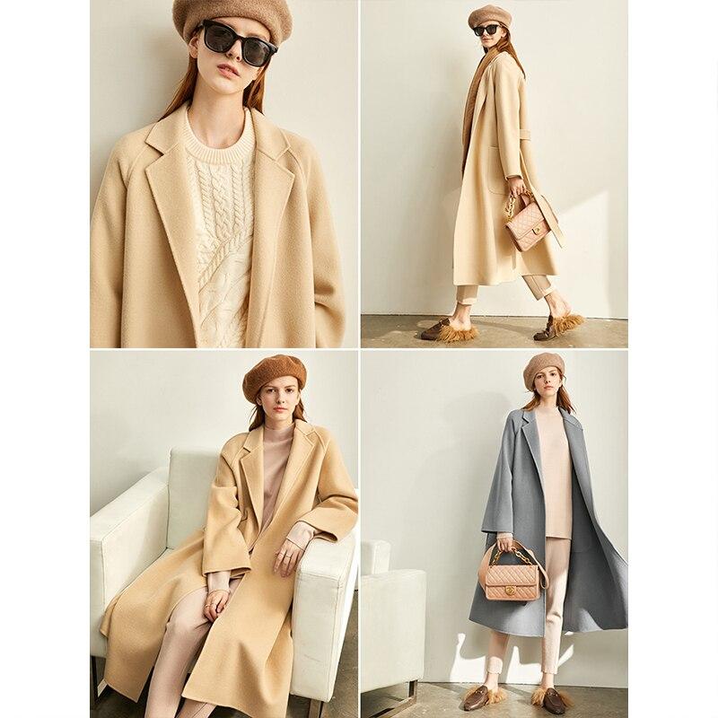 Amii Minimalist Lapel Woolen Coat Winter Women Solid Loose With Belt Female Woolen Long Jacket 11920291