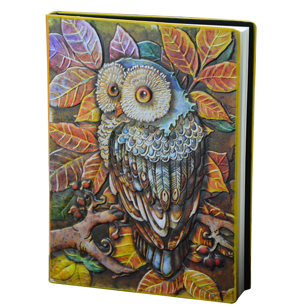 A5 Lined Pages Handmade Embossed Birthday Gift Hardcover 3D Owl PU Leather Travel Journal Diary Anniversary Notebook Writing