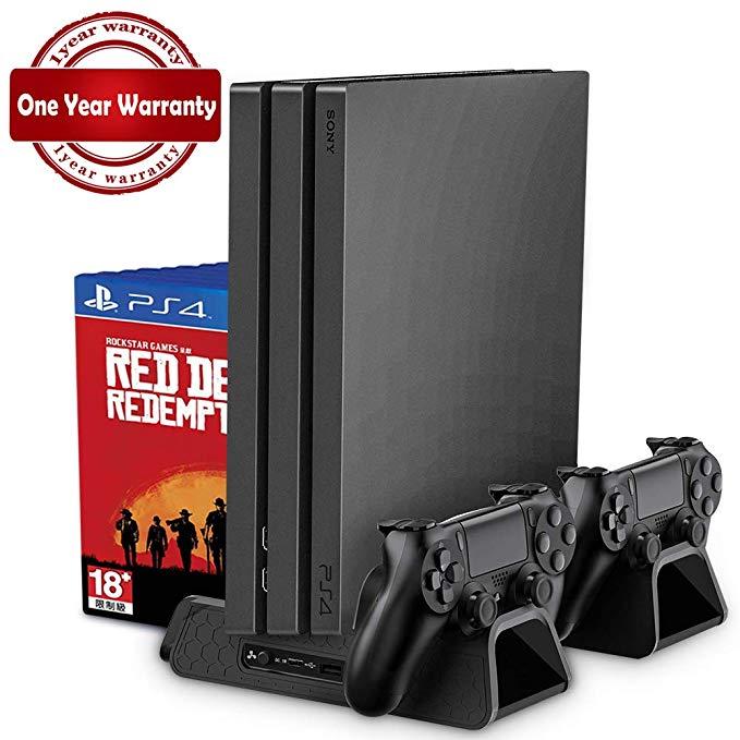 PS4/PS4 Slim/PS4 Pro Vertical стенд с Вентилятор охлаждения Cooler двойной контроллер Зарядное
