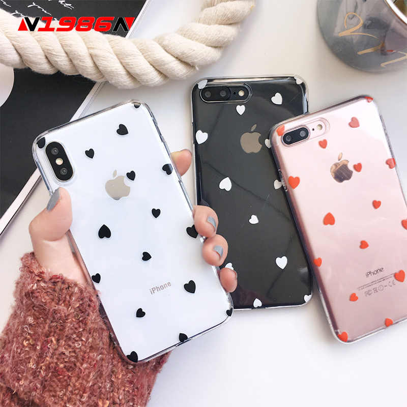 N1986N Telefoon Case Voor iPhone 6 6s 7 8 Plus X XR XS Max Leuke Cartoon Liefde Hart Wave punt Clear Soft TPU Voor iPhone X Telefoon Case