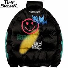 2019 Hip Hop ceket Parka gülümseme yüz baskı erkekler rüzgarlık Streetwear Harajuku kış kapitone ceket ceket sıcak dış giyim kalın yeni