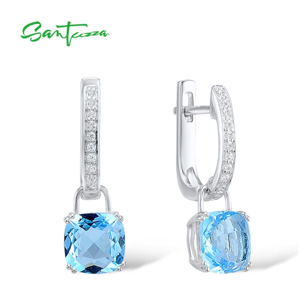 SANTUZZA Silver Earrings For Women 925 Sterling Silver Dangle Earrings Sky Blue Cubic Zirconia brincos Fashion Jewelry
