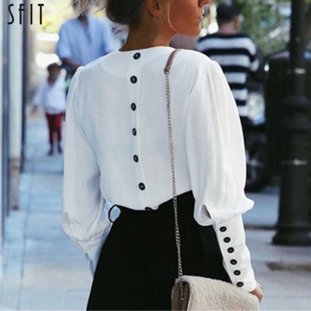 Sfit com decote em v camisas blusa feminina botão de manga sopro blusa branca verão outono senhora camisa superior feminino escritório chiffon blusa topos