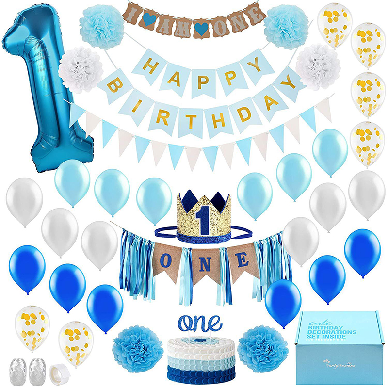 <font><b>1</b></font> year old birthday set boy girl party decoration baby blue pink <font><b>1</b></font> year birthday balloon set cute baby shower image