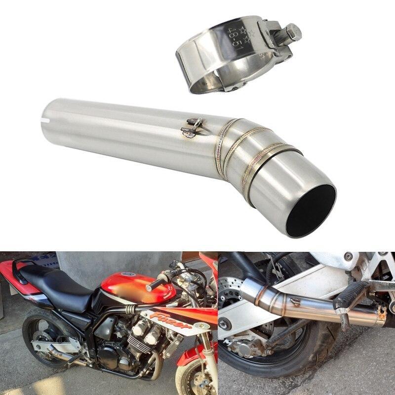 Silenciador médio de escape da motocicleta, cano de escape de 51mm conexão para yamaha fazer 600 2001/honda cb1300 2003-2013