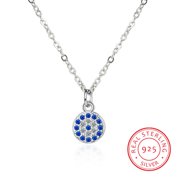 Genuine 925 Sterling Silver Necklace Turkey Round Evil Of Eye Necklaces AAA CZ For Women Link Chain Jewelry KLTN021 image