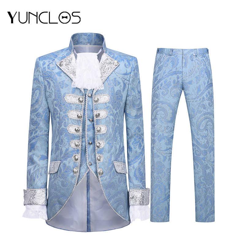 YUNCLOS 2019 Blue Royal Court Men's Suit England Style 3 Pieces Men Suit Banquet Robe Vestido Men Single-breasted Wedding Suits