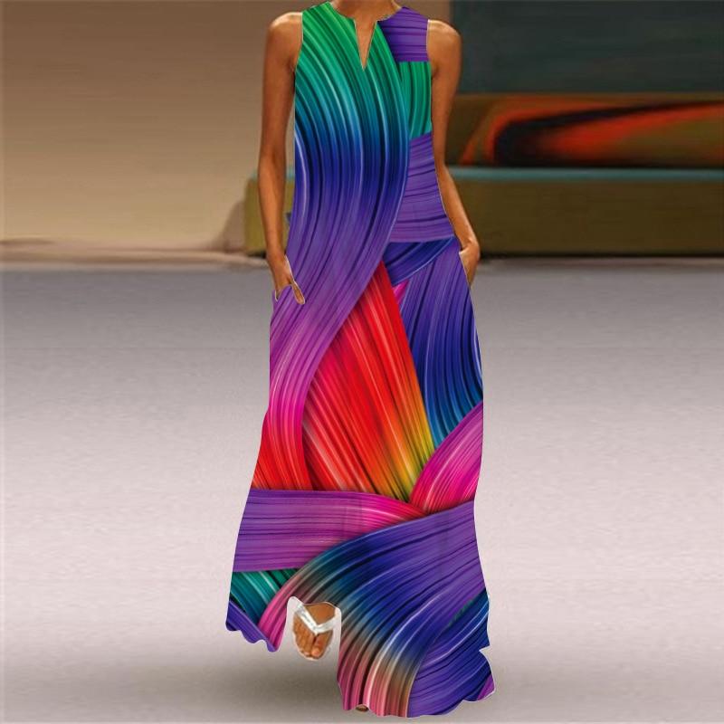 Модное летнее платье MOVOKAKA 2021, женское платье, Элегантное повседневное длинное платье большого размера, женское пляжное макси-платье без рук...