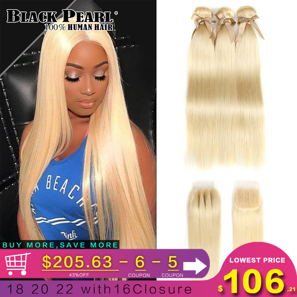 black-pearl-honey-blonde-bundles-with-closure-brazilian-remy-straight-human-hair-613-bundles-with-closure-free-shipping