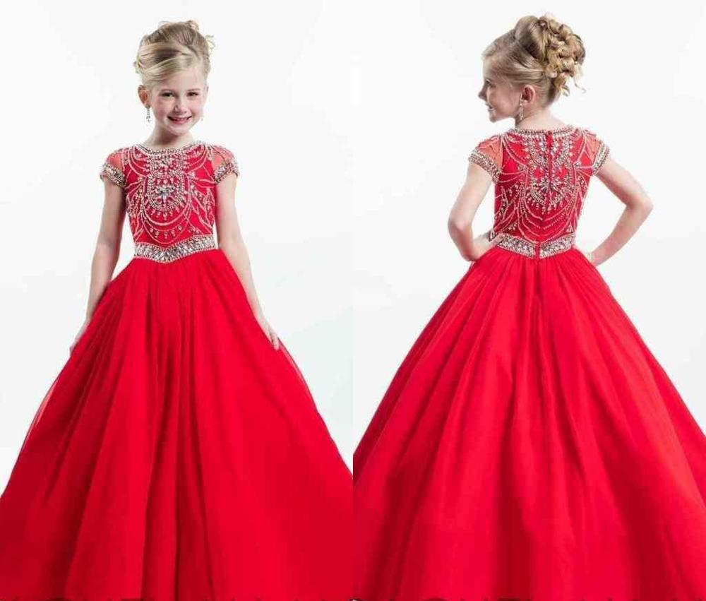 Red Girls Pageant Dresses Ball Gown Cap Sleeves Beaded Crystals Long Flower Girl Dresses For Weddings Little Girls
