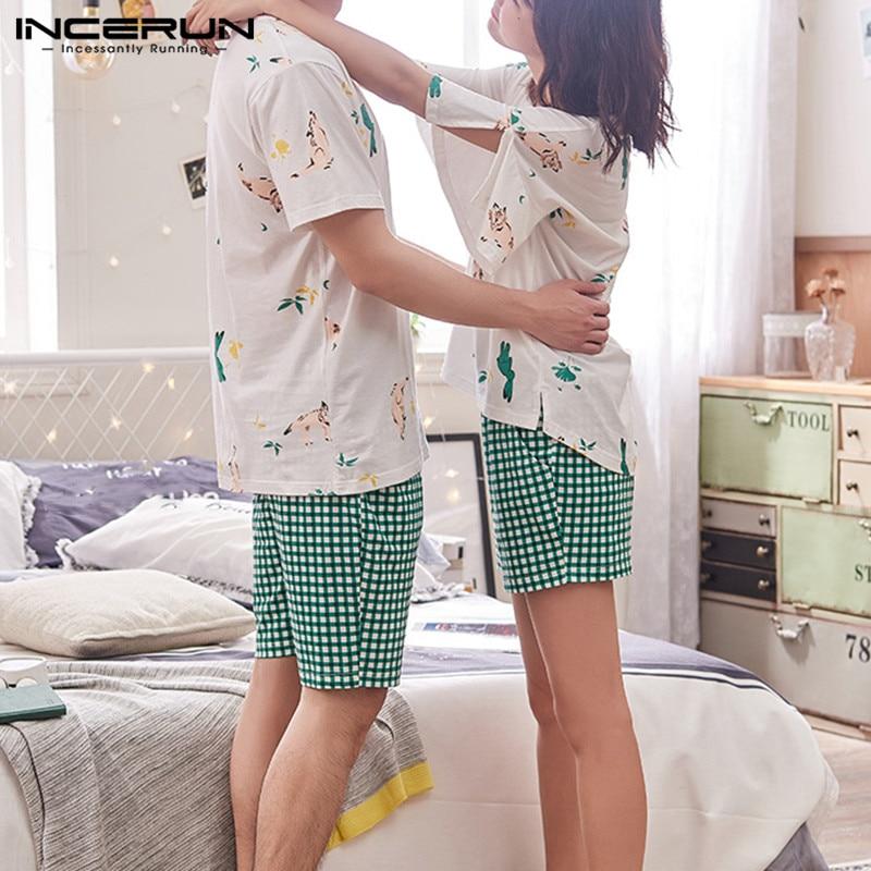 INCERUN Men Pajamas Set Summer Short Sleeve Printed Tops Plaid Shorts Casual Breathable Sleep Suits Unisex Couple Sleepwear 5XL