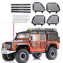 4 個メタル折りたたみ車の窓保護ネット 1/10 rcクローラ車ディフェンダートラクサスTrx4 T4 TRX 4 窓ガードネットguardrai