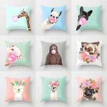 Декоративные подушки с изображением животных единорога, чехол для подушки, домашний декор, жираф, диван, автомобиль, талия, 45x45 см, лама, альпака, вечерние
