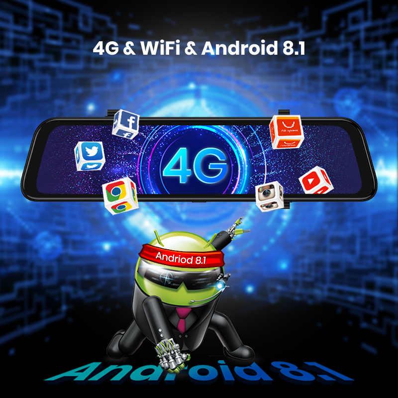 Nuevo 10 GPS de coche en pulgadas DVR espejo FHD coche espejo retrovisor Auto grabadora Android 8,1 Dash Cámara 4G y WiFi coche espejo Video ADAS