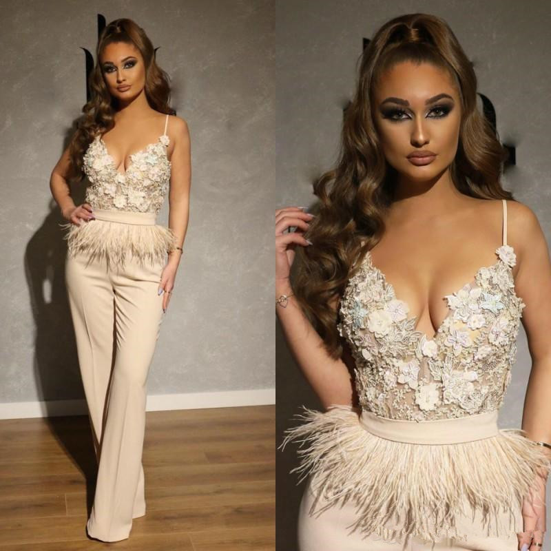 2020 Ivory Jumpsuits Prom Dresses Long Spaghetti Lace Appliqued Feather Dubai Arabic Celebrity Evening Gowns Pantsuits Formal