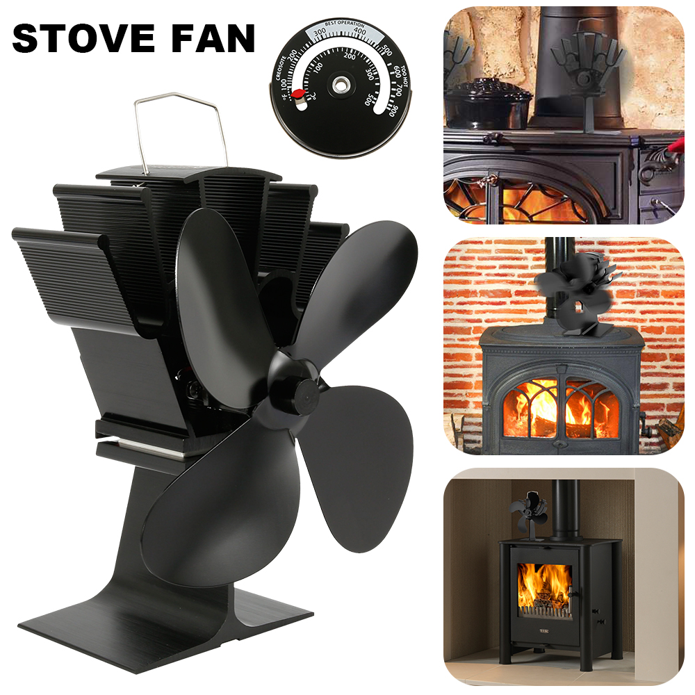 Black Fireplace 4 Blade Heat Powered Stove Fan Log Wood Burner Eco Friendly Quiet Fan Home Efficient Heat Distribution