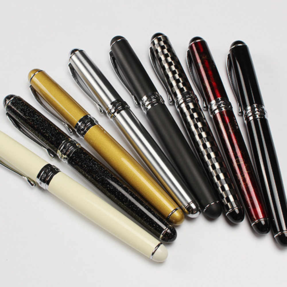 40 @ lüks marka Jinhao X750 gümüş paslanmaz çelik dolma kalem orta 18KGP Nib okul ofis adı mürekkep kalemler hediye kırtasiye