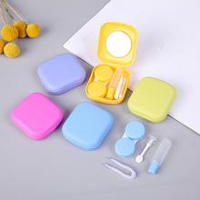 NEW Mini Square Contact Lens Case with Mirror Women Colored Contact Lenses Box Eyes Contact Lens Container Lovely Travel Kit 32g