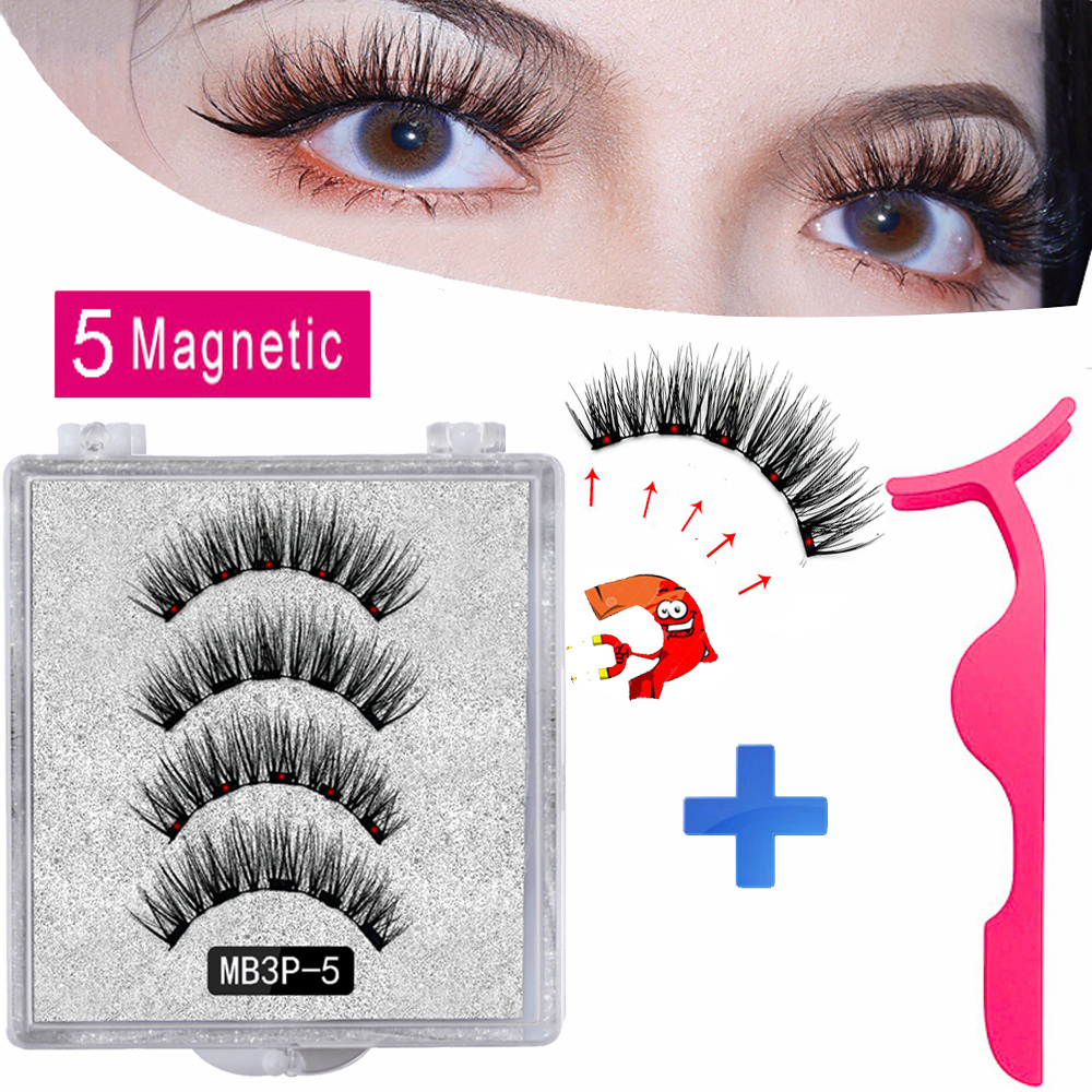 MB New 5 Magnetic Eyelashes Extension Natural False Eyelashes On Magnets Reusable 3D Mink Fake Eye Lashes Faux Cils Magnetique