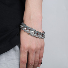 Chunky Miami Cuban Chain Bracelet AAA Zirconia Men Hip hop Jewelry Gold Silver Big Lock Bangle 7 8