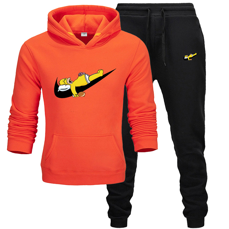 Brand 2019 Spring Sporting Suits Cute And Funny Men  Hip Hop Hooded Hoodies + Pants Tracksuits Autumn Casual Mens Sportswear Set