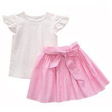 1-6Y Toddler Baby Girl Cute Pink Clothes 2PCS White Cotton Tops+Pink Striped Skirt with Belt Summer Outfits цена 2017
