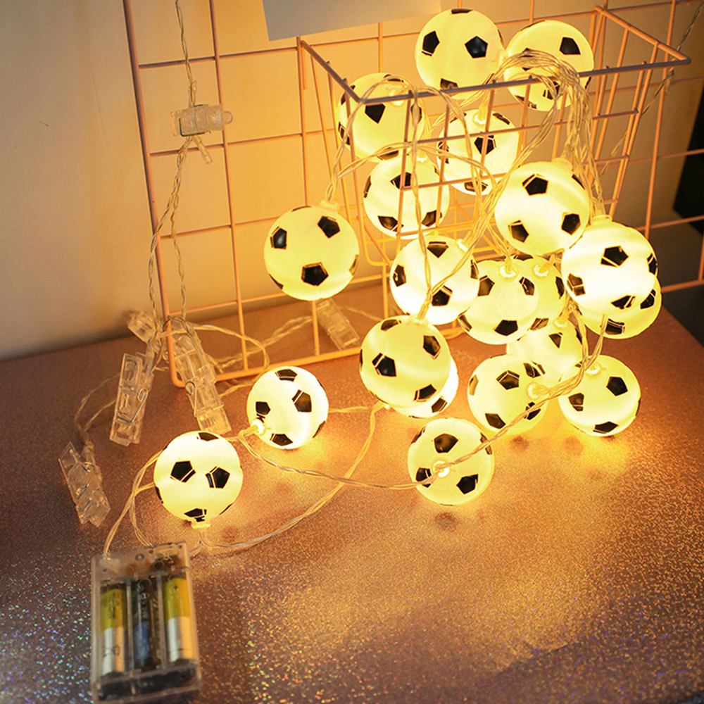 1.5 M 10 LEDs Football String Lights Soccer Ball Night Light Garlands Decor Warm White Kids Bedroom Party Xmas Holiday Light New
