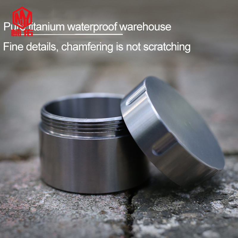 1PC EDC Titanium Alloy Small Waterproof Container Health Metal Pill Medicine Bottle Waterproof Storage Tank Box Gift Tea Pot