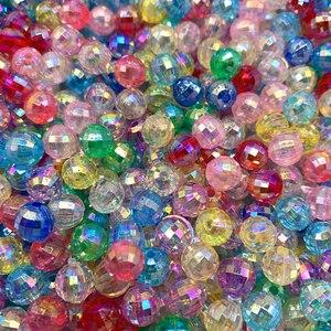 Novo 6/8/10mm transparente galvanizado grânulos ab cor faceta contas de acrílico solto espaçador grânulos para fazer jóias diy acessórios