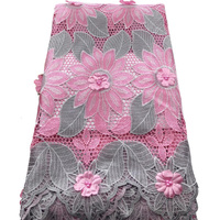(5yards/pc) wonderful 3D flowers appliqued African big cord lace fabric in grey pink with beads high quality for party WLH014